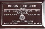 M595412 WO1 Robin John (Robbie) CHURCH-MSM MBE RNZMP [MV²-Cpl(RPs/C7/C9),D67/68-WO2(1ALSG-RNZPro),71/73-WO2(ANZUK)] - 16May2015(16Feb36)..aged 79 - Hawera Cemetery, Gladstone Street, Hawera, Taranaki 4610. RSA Block D, Plot 12663