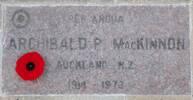 Arch MacKinnon's plaque at the British Commonwealth Air Training memorial garden in Winnipeg
