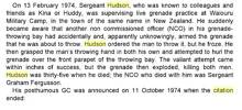 #537931 Sgt Murray Ken HUSDON-GC, George Cross - Citation, Event = 13 Febuary 1974...(from the book George Cross Hero's, Micheal Ashcroft) (V5 Coy - RTNZ Nov71)