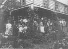 "1908 - At Home, ""The Cascades"", of Captain Robert Hattaway - Alice Hattaway Wedding  Back Row: James Hattaway(3rd son), Robert Hattaway 3rd (eldest son of Robert 2nd), Martha (wife of Robert 2nd), Julia (5th daughter of Capt. Robert), Mary (wife of James). The Bride Alice Hattaway (8th daughter of Capt. Robert), The Groom Eric Anderson, Elizabeth Hattaway bridesmaid (7th daughter of Capt. Robert), Burt Fitzpatrick (party obscured) son of Maria Ann (eldest daughter of Capt. Robert), The Rev. Dale Boyles, Mrs Boyle, Barabara (wife of Alfred Hattaway) holding her daughter, Isobel Hattaway (wife of William Denis Hattaway), Jane Grey, William Denis Hattaway (4th son of Capt Robert holding son Rolfe.)  Second Row: Violet Hattaway(2nd daughter of Robert 2nd); Mr Andrew Thompson, Mrs Mary Thompson; Alfred Hattaway (5th son of Capt. Robert holding infant son) Robert Hattaway (eldest son of Capt. Robert -standing behind Mary& Alfred) Vincent Hattaway (7th son of Capt. Robert holding infant son L"