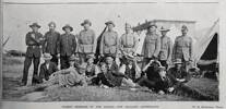 Description Showing a group portrait of the Nelson members of the 8th New Zealand Contingent at camp at Addington; (back row) Allsopp, Redwood, Richards, Lunn, Rieley, Hudson, Boys, Harding, Thompson;(middle row) E Hogg, Horning, Hadfield, Smith, Goodman, Newth; (front row) Sowman, Freeth, Nalder