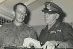 Sgt Colin MURPHY, RNZASC with Maj General Robert DAWSON, CGS at HQFARELF, Tanglin Camp, Singapore circa 1969.