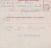 Telegram of Wyville's passing