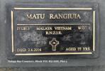 Plaque at Tolaga Bay Cemetery