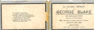 """Commemorative card: """"in loving memory of George Blake..."""" - No known copyright restrictions"""