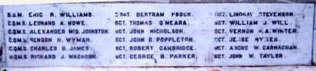 Featherston Cemetery Memorial name panel beginning Eric R. Williams - No known copyright restrictions