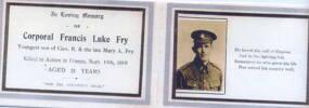 Commemorative card, including portrait in uniform - No known copyright restrictions