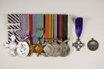 Medal Group with DFC, DFM and New Zealand Memorial Cross and his Royal Life Saving Society medal awarded 6/8/1929 Obverse. (2001.25.0450 with 2001.25.0452 and 2001.25.0451 Mackrell Collection, Auckland War Memorial Museum) - This image may be subject to copyright