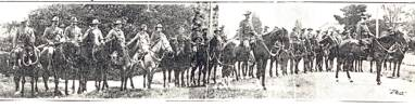 Group, Anglo Boer War troopers, on horseback. H.W.P. Cox 4th from left - No known copyright restrictions