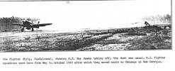 Fighter strip, Guadalcanal, NZ War Hawks taking off - This image may be subject to copyright