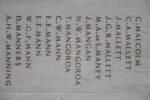 Auckland War Memorial Museum, World War 1 Hall of Memories Panel Malcolm, C. - Manning, A.H.W. (photo J Halpin 2010)