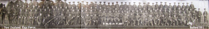 Group photograph of New Zealand Expediionary Force soldiers at Bulford Camp, 1914, including Corporal Albert Fyson (unidentified). Likely a group of New Zealanders who enlisted in Britain at the outbreak of the war. Image kindly provided by William Fyson (April 2019). Image has no known copyright restrictions.