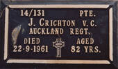Gravestone of James Crichton VC, Waiumete Cemetery, Glen Eden, Auckland. Image kindly provided by Paul Baker. Image may be subject to copyright restrictions.