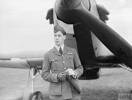The RAF's first ace of the war was Flying Officer Edgar 'Cobber' Kain of No 73 Squadron, seen here with his Hurricane at the beginning of April 1940. Image kindly provided by IWM, C1148.
