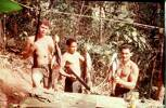 Pte Andy McCutheon, Tony Frost, Blackie Graham after fishing trip. Image taken during Malayan Emergency 1959-1960. © Peter Gallacher.